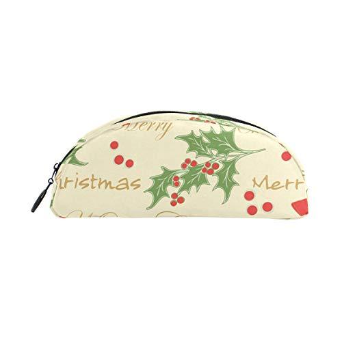 Estuche para lápices, diseño de árbol de Navidad y Papá Noel con copo de nieve, con cierre, para niños y niñas