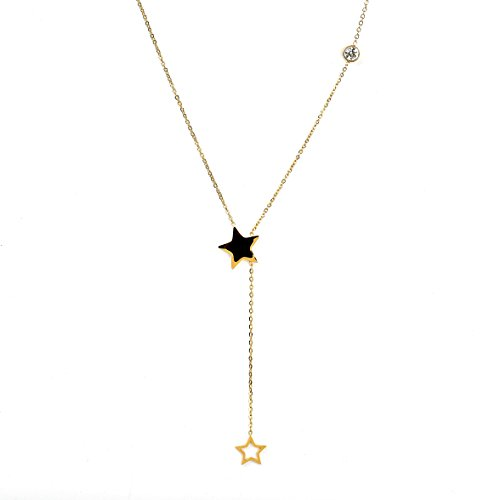 Designer Star Necklace - Delicate Gold Tone Designer Necklace with Jet Black Faux Onyx Pendant, Falling Star Charm and Swarovski Style Crystal