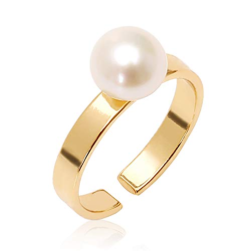 Cultured Freshwater Pearl Ring Adjustable 18K Gold Wedding Band Handmade Bridal Jewelry Present for Her