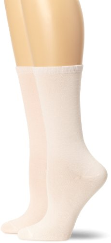 Ellen Tracy Women's 2 Pack Solid Crew, Pink/Jasmine, One Size