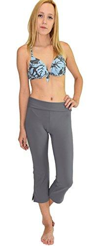 HS TRADING INC Private Island Hawaii Women UV Rash Guard Leggings Capri Pants (Large, Grey) price tips cheap