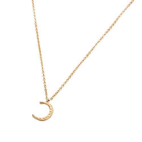 Moon Crescent Necklaces, 14K Gold Plated Handmade New Moon Half Moon Pendant Adjustable Dainty Pendant Necklaces Jewelry for Women - Gold Crescent Pendant Moon