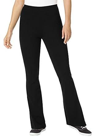 Women's Plus Size Pants, Yoga Bootcut Knit With Slim Fit Black,S
