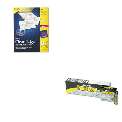 KITAVE5876EVEEN91 - Value Kit - Avery Two-Side Printable Clean Edge Business Cards (AVE5876) and Energizer Industrial Alkaline Batteries (EVEEN91) by Avery