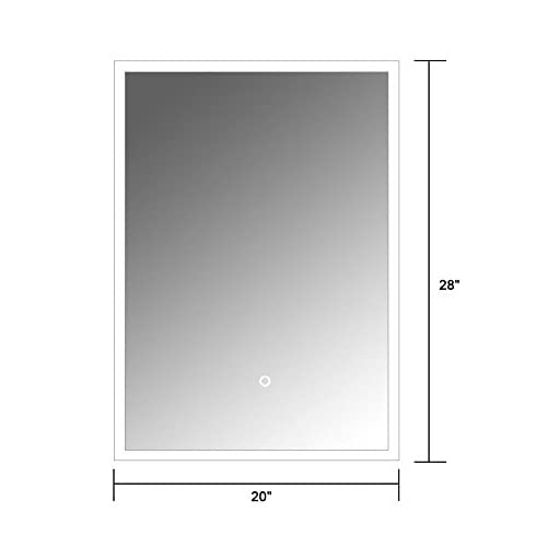 60%OFF 20 x 28 In Vertical LED Bathroom Silvered Mirror with Touch Button (N031-H)