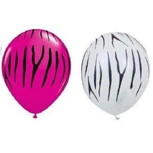 Set of 12 Hot Pink and White Zebra Stripe Balloons -