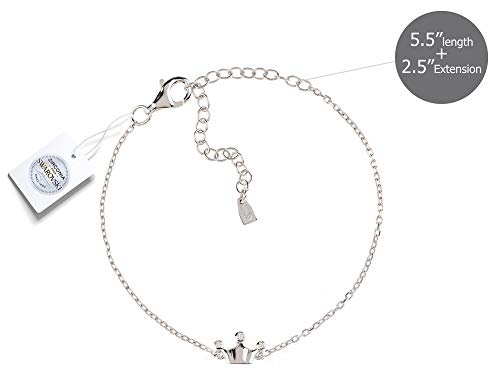 Vivid&Keith Womens Girls 925 Real Sterling Silver 18K Plated Swarovski Zirconia Cute Adjustable Gift Fashion Jewelry Link Chain Charm Pendant Bangle Bracelet, Crown, White Gold Plated