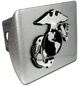 "United States US Marine Corps USMC Brushed Silver with Chrome /""EGA/"" Emblem Trailer Hitch Cover Fits 2 Inch Auto Car Truck Receiver"