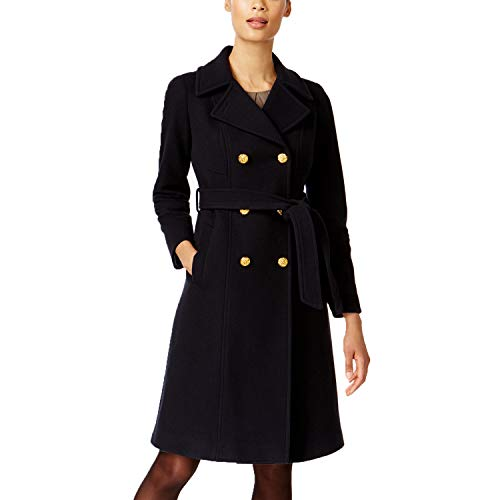 Anne Klein Wool-Cashmere Blend Belted Trench Coat (Black, 10)