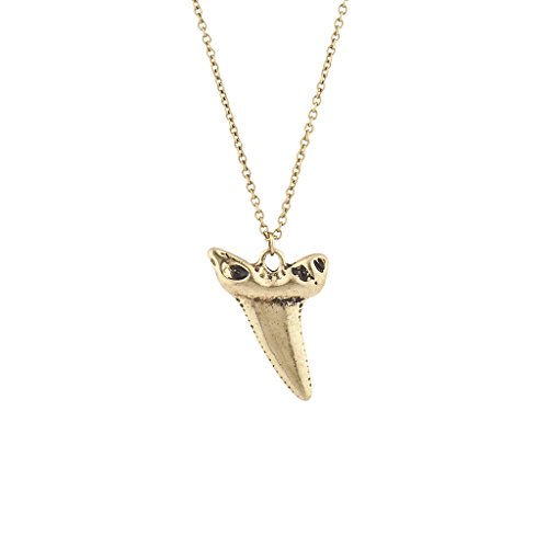 Lux Accessories Burnished Gold Tone Casted Shark Tooth Pendant Necklace (Burnished Gold Pendant)