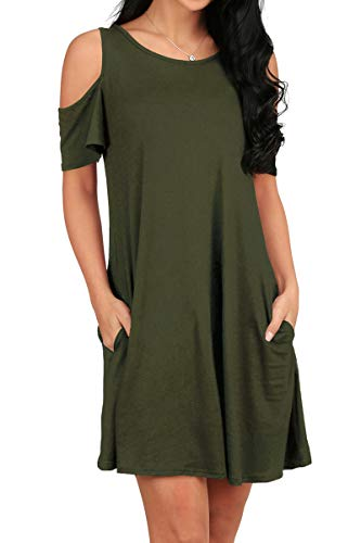 - OFEEFAN Women's Cold Shoulder Swing Dress with Pockets Army Green M