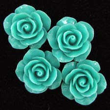 20mm Synthetic Coral Carved Rose Flower Pendant Bead 8 pcs Green (Rose Coral Carved Flower)