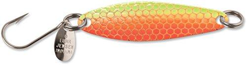 Luhr Jensen 2 Needlefish Spoon, Orange Hot Scale UV (Brass Back)