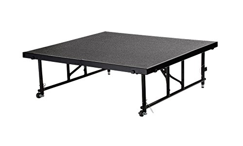 Portable 4' x 4' Height Adjustable Stage Finish: Grey Carpet, Size: 32'' H x 48'' W x 48'' D by National Public Seating