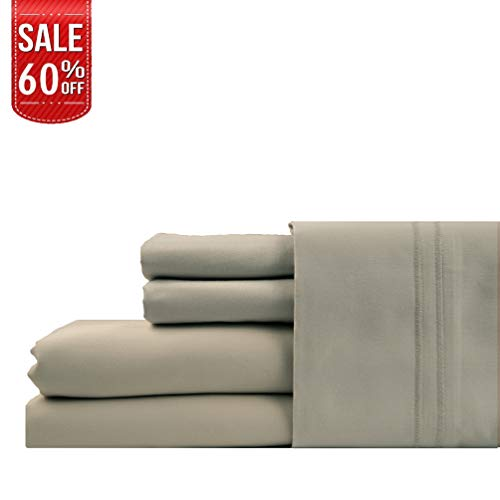 LINENWALAS 100% Cotton Bed Sheets – 1000 Thread Count Deep Pocket 4 Piece Sheets|Silk Like Soft, Hypoallergenic, Breathable & Cooling Sateen |Hotel Luxury Bedsheets Clearance Deal (Queen, Silver)