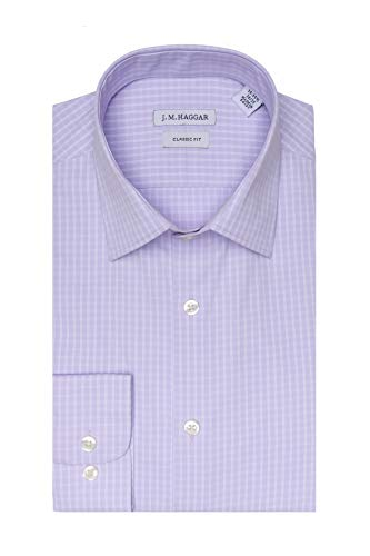 Haggar Men's Premium Performance Classic Fit Dress Shirt, Light Purple Check 17-17.5 34-35