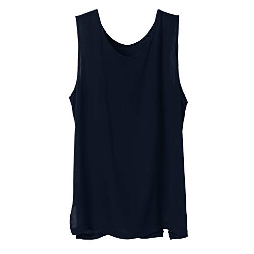 AOJIAN Men T Shirts Sleeveless T-Shirt Cotton Linen Loose Solid Tee Shirts Tunic Blouses Vest Tank Tops Navy