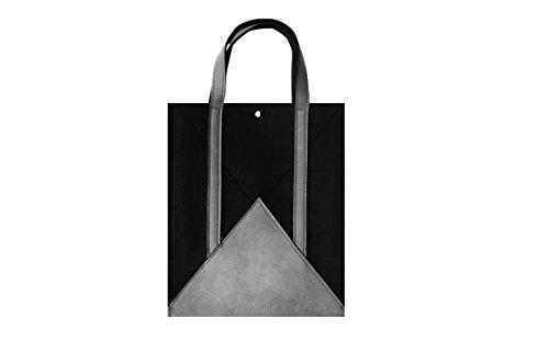 Designer Slim Laptop Tote Bag, Lightweight Briefcase Casual Handbag Laptop Case 13.3 inch Tablet/Ultra-Book/MacBook /IPAD Pro Black Gray(02HBWL) ()