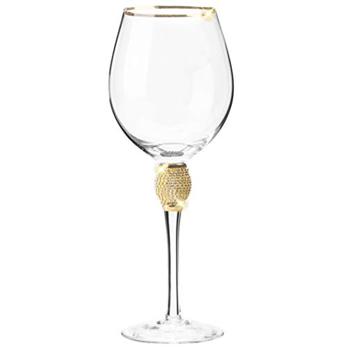 Cheer Collection Set of 6 Wine Glasses – Elegant Sparkling Studded Long Stem Red Wine Glass with Gold Rim