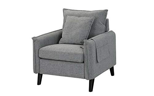 Monowi Classic Living Room Fabric Armchair, Accent Chair with Remote Pocket, Grey | Model CCNTCHR - 99 (Wicker Furniture Maine)