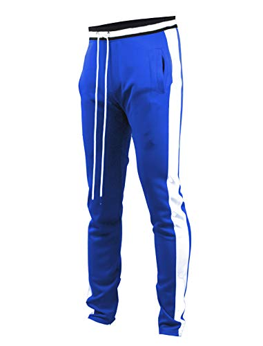 SCREENSHOTBRAND-S41700 Mens Hip Hop Premium Slim Fit Track Pants - Athletic Jogger Bottom with Side Taping-Midnight-Medium