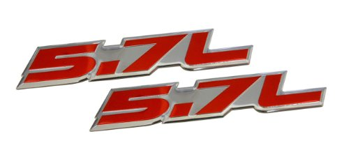 ERPART 5.7L Liter in RED on Highly Polished Silver Aluminum Car Truck Engine Swap Nameplate Badge Logo Emblem (pack of 2)