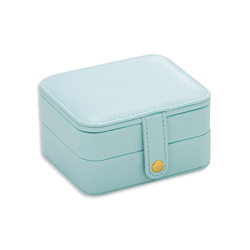b4aeeaa64884e Mini Jewelry Box Organizer Travel Small Portable Storage Case with Mirror  Zipper for Rings Earrings Necklace (Sky Blue)