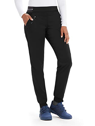 - Grey's Anatomy Active GVSP512 3 Pocket Logo Knit Waist Jogger Scrub Pant Black/White/White Stripe XS