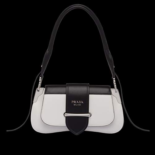 (Prada Women's 1Bd168vojn2aixf0964 White Leather Shoulder Bag)
