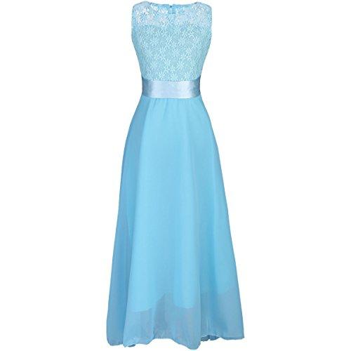 IWEMEK Little Big Girls Floor Length Flower Lace Chiffon Pageant Dress Wedding Formal Bridesmaid Dance Party Gown Maxi Long Dress (Pretty First Communion Dresses)