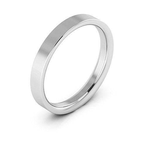 14K White Gold men's and women's plain wedding bands 3mm flat comfort-fit, 5.5 Ladies Flat Wedding Band