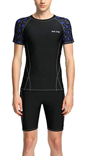 Piece Clothes Western 2 (Men Two Piece Swimsuit Sun Protection Short Sleeve Rash Guard Shirt with Drawstring Jammer S Black)