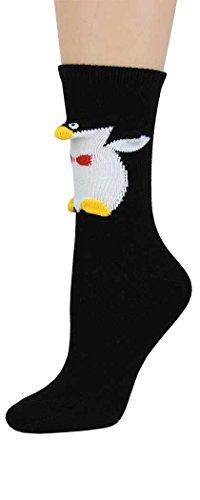 Foot Traffic, Women's Adorable Happy Penguin 3D Socks, Black/White (Sizes 4-10)