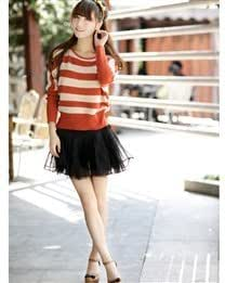 ?Long Sleeve Round Collar Stripe Pattern Casual Loose Knitted Women Sweater