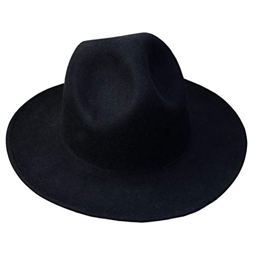 - ByTheR Modern Classic Wide Brim Wool Felt Chic Mountain Fedora Hat Black