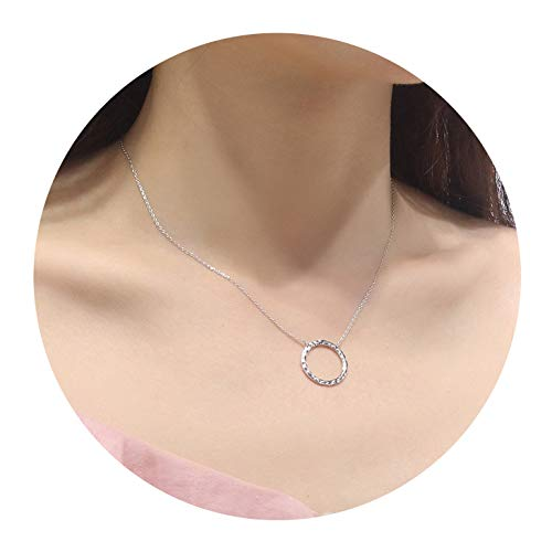 EGOO YAMEE Silver Mini Open Circle Necklace White Gold Plated Handmade Hammered Necklace for Womens Minimalist, Delicate Jewelry