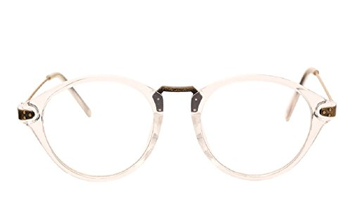 JTS9389 Plastic Frame Engraved Wrapped Metal Arm Round Eyeglasses Small (C7-clear, - Arms Eyeglasses Replacement