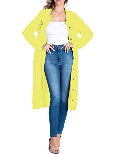 (BEYONDFAB Women's Destroyed Boyfriend Long Denim Jacket Neon Yellow L)