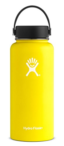 Hydro Flask 40 oz Double Wall Vacuum Insulated Stainless Steel Leak Proof Sports Water Bottle, Wide Mouth with BPA Free Flex Cap, Lemon ()