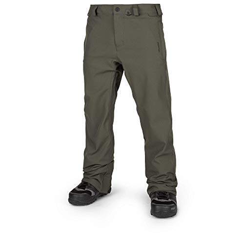 Volcom Men's Freakin Relaxad Fit Chino Style Snow Pant, Black/Green, Small