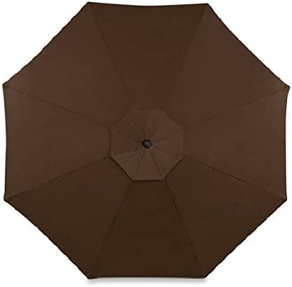 Amazon Com 11 Foot Round Solar Cantilever Umbrella With 360º Rotation Vented Canopy An Umbrella Cover And 24 Led Lights It Also Includes The Base Dark Brown Chocolate Garden Outdoor