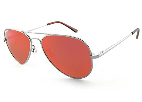 Pepper's Maverick Polarized Aviator Sunglasses, Sterling Silver, 58 - Cambridge Sunglasses