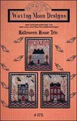 Halloween House Trio Cross Stitch Chart and Free Embellishme