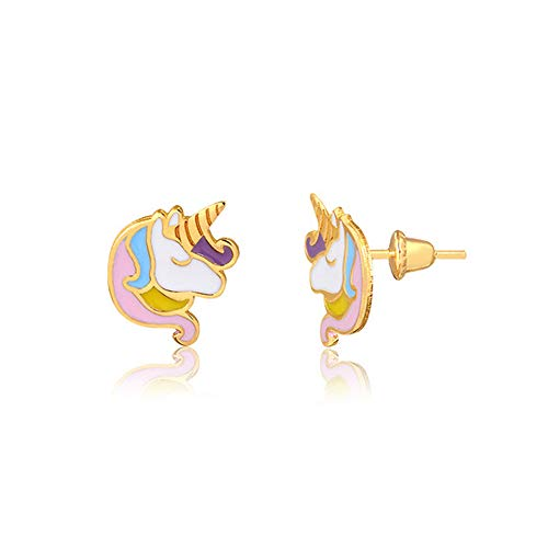 Carol Jewelry 18k Hypoallergenic Yellow Gold Enamel Unicorn Push Backs Stud Earrings for Girls, Children, Infants, and Teens