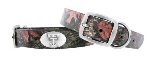 Zep-Pro Camouflage Leather Concho Pet Collar, Texas Tech Red Raiders, X-Large