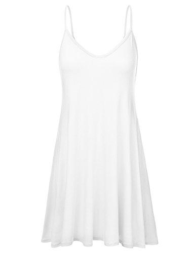 (NINEXIS Women's Basic Spaghetti Strap Cami Tank Tunic Dress OFFWHITE 2XL)