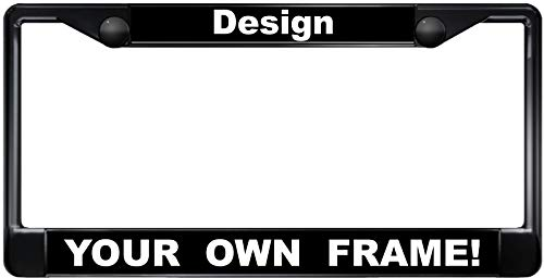 (Custom Personalized Black Metal Car License Plate Frame with Free caps -)