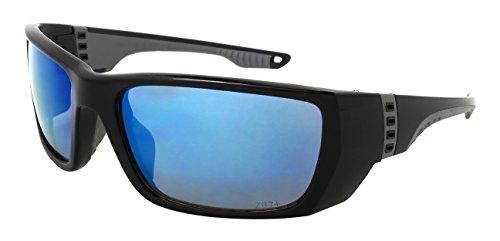 (Edge I-Wear Sports Safety Sunglasses ANSI Z87+ Color Mirror Lens M570061/REV-1(BLK.buwhtrev))