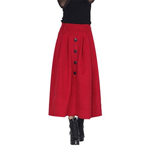 NiSeng Femme Replient sur Jupe Maxi Taille Maillot Longue Jupe pour Automne et Hiver Rouge