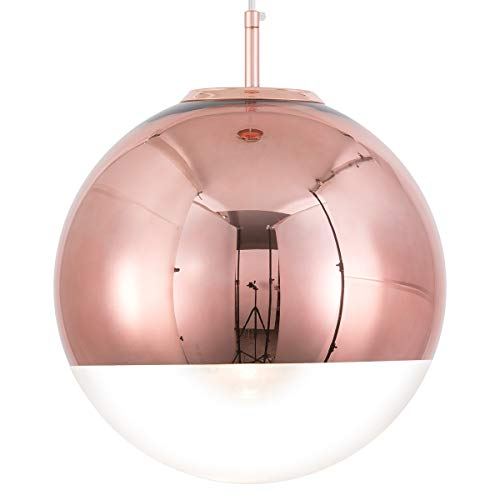 Mzithern Modern Mini Globe Pendant Lighting with Hand-Blown Clear Glass,Adjustable Glass Mirror Ball Pendant Lamp for Living Room Kitchen Island Hallways Bar Cafe,Polished Copper Finish,Copper 12in